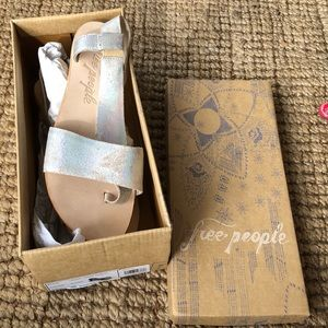 Free People leather metallic sandals New in box